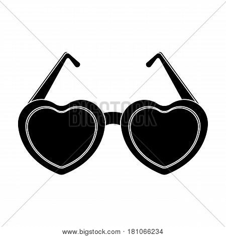 Glasses in the form of the heart.Party and parties single icon in black style vector symbol stock web illustration.