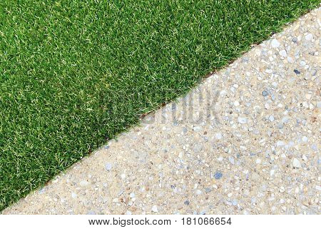Landscaping combinations of artificial grass and exposed aggregate concrete