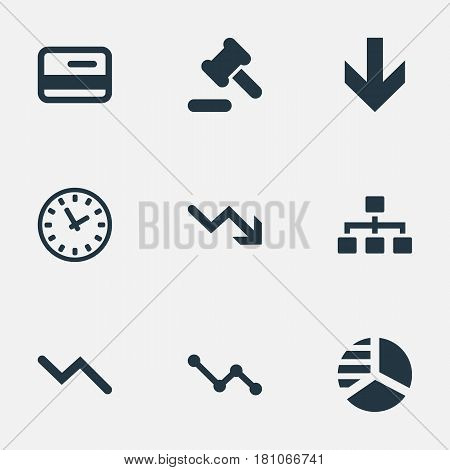 Vector Illustration Set Of Simple Trouble Icons. Elements Down Cursor, Round Graph, Graph Decreases And Other Synonyms Clock, Downward And Credit.