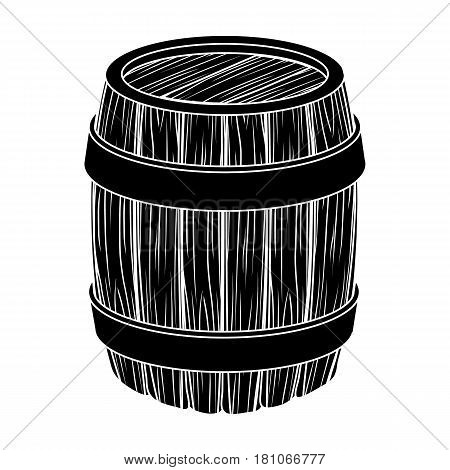 Oak barrel beer. A barrel in which beer is brewed. Pub single icon in black style vector symbol stock web illustration.
