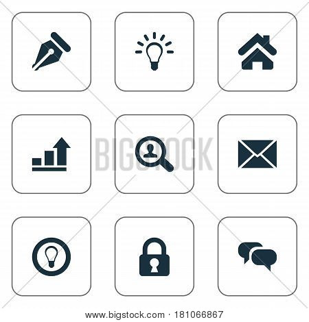 Vector Illustration Set Of Simple Business Icons. Elements Padlock, Chatting, Progress And Other Synonyms Light, Home And Talking.