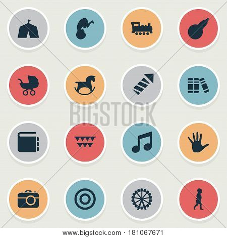 Vector Illustration Set Of Simple Baby Icons. Elements Tent, Ferris Wheel, Palm And Other Synonyms Child, First And Textbook.