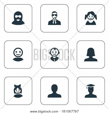 Vector Illustration Set Of Simple Avatar Icons. Elements Postgraduate, Felon, Bodyguard And Other Synonyms Web, Offender And Postgraduate.