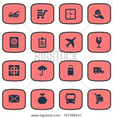 Vector Illustration Set Of Simple Surrender Icons. Elements Envelope, Clipboard, Eviction Vehicle And Other Synonyms Cart, Identity And Sack.