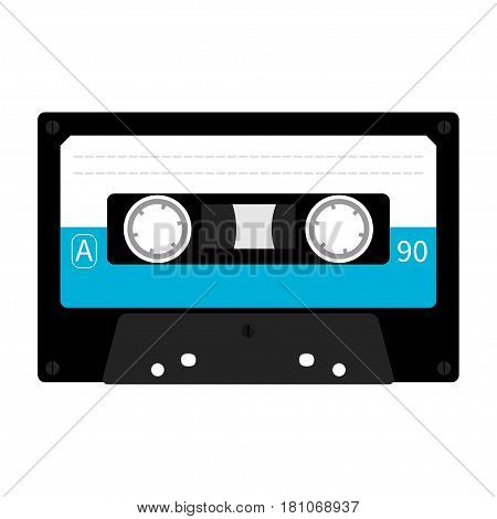 Plastic audio tape cassette. Retro music icon. Recording element. 80s 90s years. Blue color template. Flat design. White background. Isolated. Vector illustration