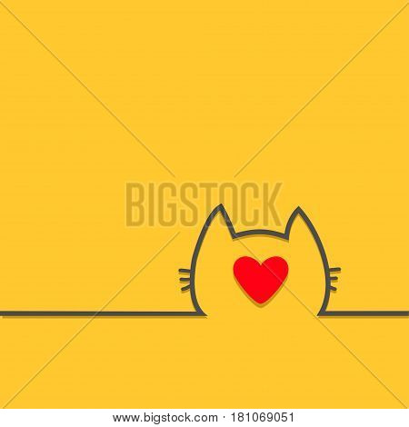 Black cat head face contour silhouette line icon. Big red heart. Cute cartoon character. Kitty kitten with whisker Baby pet Yellow background. Isolated Flat design Vector illustration