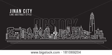 Cityscape Building Line art Vector Illustration design - Jinan city