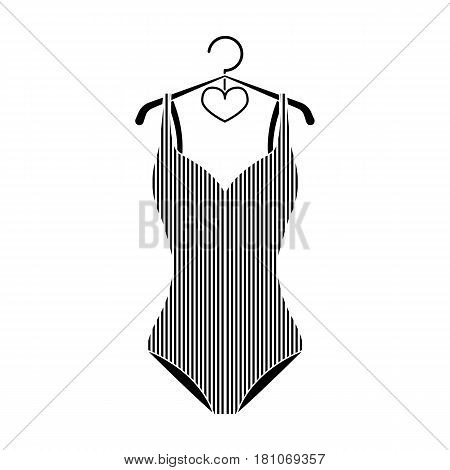 Women swimsuit closed with the flag of America. Swimsuit for the patriots.Swimcuits single icon in black style vector symbol stock web illustration.