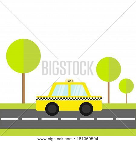 Taxi car cab icon on the road. Green grass tree. Cartoon transportation collection. Yellow taxicab. Checker line light sign. New York symbol. Isolated. White background. Vector illustration