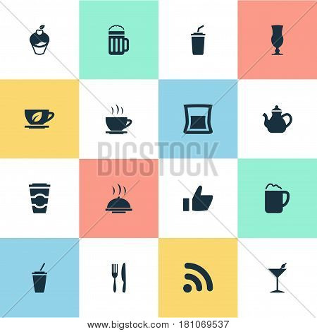 Vector Illustration Set Of Simple Beverage Icons. Elements Wireless Connection, Smoothie, Food Tray And Other Synonyms Laying, Like And Wireless.