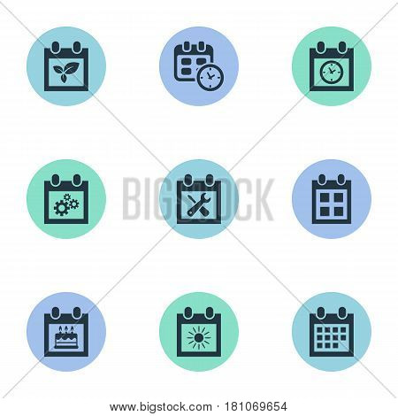 Vector Illustration Set Of Simple Calendar Icons. Elements Date Block, Almanac, Planner And Other Synonyms Almanac, Sun And Deadline.