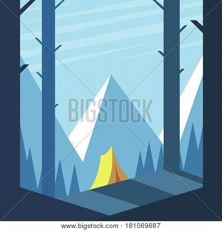 Summer camp. Tent in the woods flooded with sunlight on the background of mountains and blue sky. Recreation and tourism vector illustration.