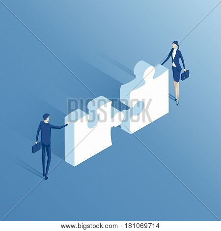 Businessman and businesswoman trying to connect two puzzle piece. Isometric business people collect puzzle. Business concept teamwork