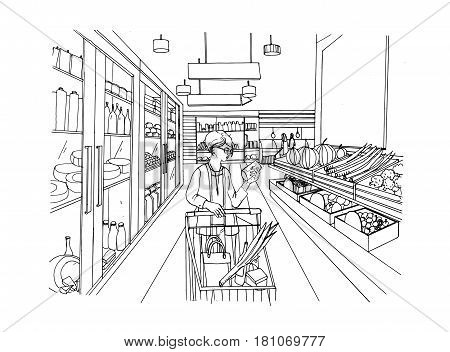 Supermarket interior with shopper girl. Grocery store, hand drawn colorful illustration