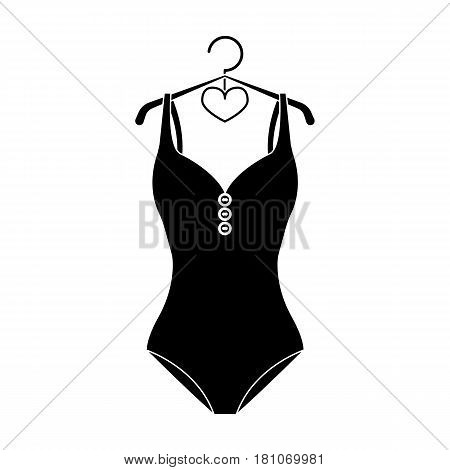Monotone yellow swimsuit for girls. Bathing clothes in the pool.Swimcuits single icon in black style vector symbol stock web illustration.