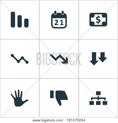Vector Illustration Set Of Simple Crisis Icons. Elements Palm, Downward, Net And Other Synonyms Diagram, Descending And Calendar.