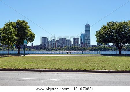 the Boston skyline and Charles River from Cambridge Massachusetts