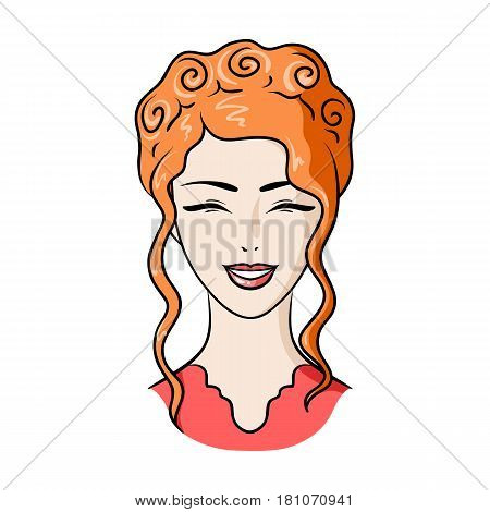 Avatar of a Japanese girl with a hair.Avatar and face single icon in cartoon style vector symbol stock web illustration.