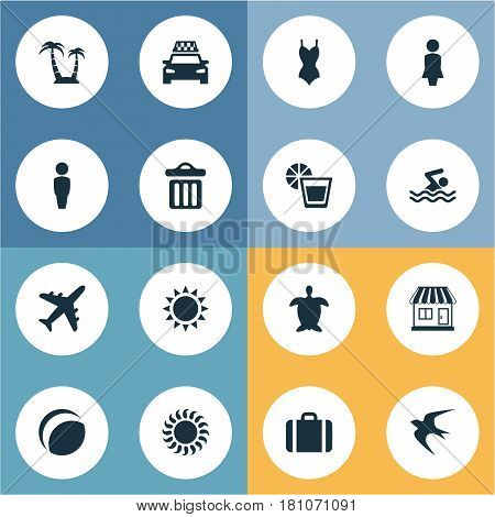 Vector Illustration Set Of Simple Seaside Icons. Elements Woman, Suitcase, Sunlight And Other Synonyms Suitcase, Baggage And Car.