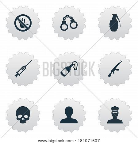 Vector Illustration Set Of Simple Crime Icons. Elements Sheriff, Lock, Bottle And Other Synonyms Explode, Solider And Human.