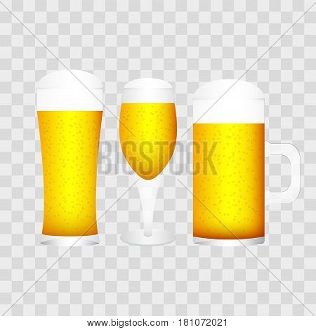 illustration of set of glasses with different type of glasses isolated on transparent checkered, vector illustration