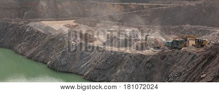WICK UK - APRIL 7 2017 Quarrying and processing operations at Wick Quarry. Machinery engaged in limestone aggregate mining and crushing near Bristol in Wiltshire