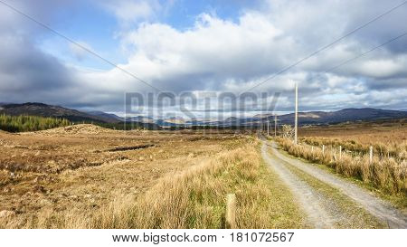 Single track road through the mountains of Kerry, Ireland