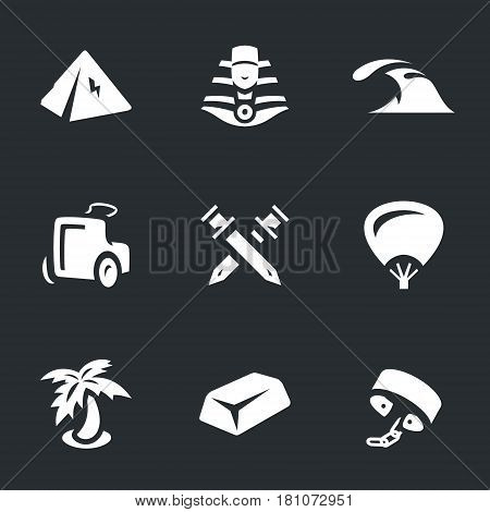 Pyramid, sphinx, sea, chariot, swords, fan, palm, gold, shackles.