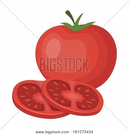 Tomato with a leaf.Burgers and ingredients single icon in cartoon style vector symbol stock web illustration.