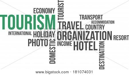 A word cloud of tourism related items