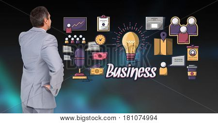Digital composite of Digital composite image of businessman with idea icons and business text