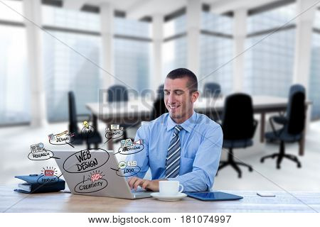 Digital composite of Digital composite image of businessman using laptop with web design icons in foreground
