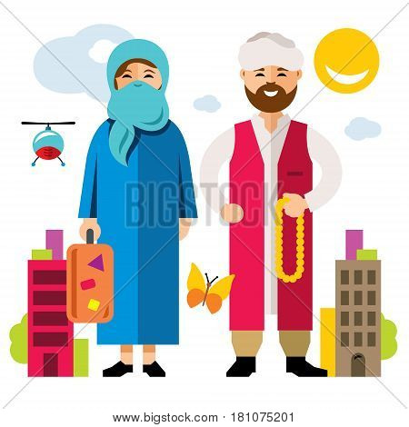 Two people travel to Europe. Isolated on a white background