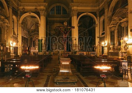 Venice, Italy February 17, 2017 Interior Chiesa di S. Moise at night in Venice, Italy