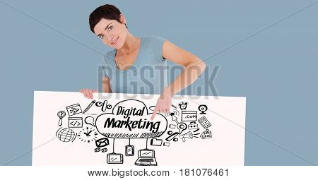 Digital composite of Woman pointing at digital marketing text and signs on bill board