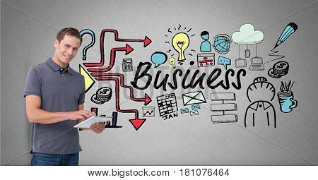 Digital composite of Digital composite image of businessman using tablet PC by icons surrounding business text