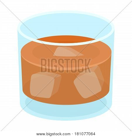 Glass glass of whiskey with ice. Alcoholic beverage of the detective.Detective single icon in cartoon style vector symbol stock web illustration.