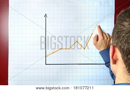 Businessman points an a chart on a flip chart - can be used for business presentation concepts with plenty copyspace