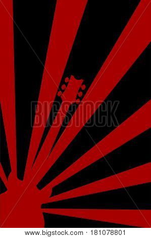 Rock guitar red and black abstract poster background