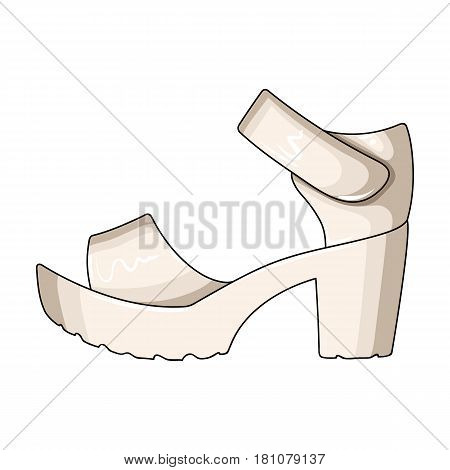 Women summer white sandals on a bare foot.Different shoes single icon in cartoon style vector symbol stock web illustration.