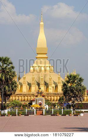 Golden Pagoda Wat Phra That Luang In Vientiane