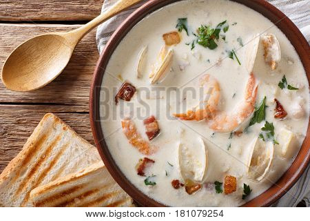 New England Clam Chowder Soup Close-up. Horizontal Top View