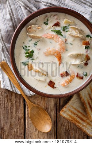American Food: New England Clam Chowder Soup Close-up On A In A Bowl. Vertical Top View