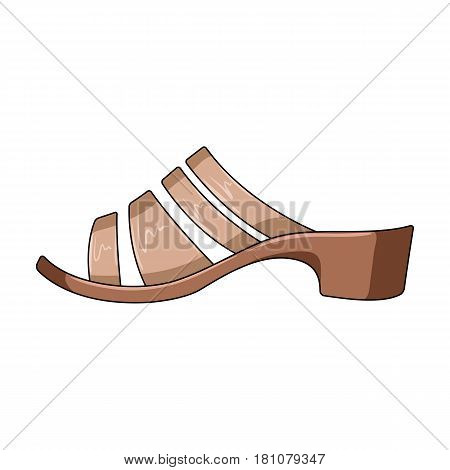 Brown leather women summer heels. Shoes for walking in the Park .Different shoes single icon in cartoon style vector symbol stock web illustration.