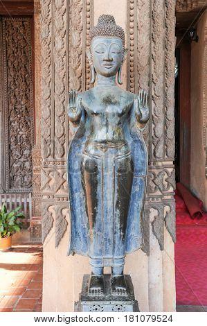 Buddha Statue Of Wat Ho Phra Keo Pagoda In Vientiane