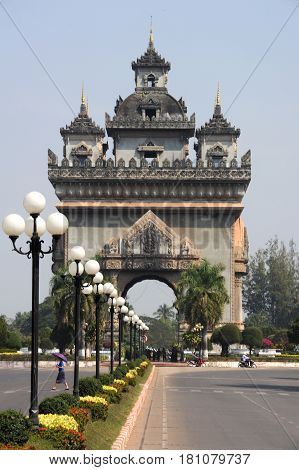 Vientiane Laos - 18 January 2012: Patuxai is a war monument in the centre of Vientiane Laos