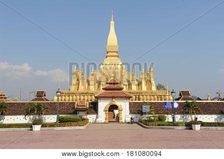 Vientiane, Laos - 18 January 2012: Golden pagoda wat Phra That Luang in Vientiane Laos