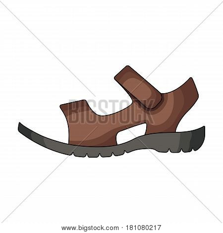 Men summer brown leather sandals on a bare foot.Different shoes single icon in cartoon style vector symbol stock web illustration.