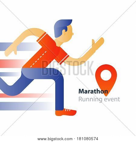 Marathon event, running sport race, person in motion, triathlon athlete man, abstract cartoon, vector flat design illustration