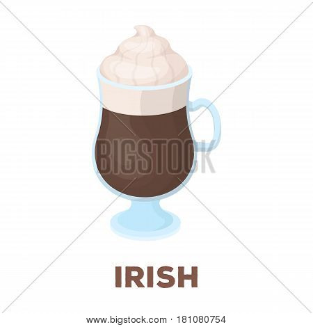 Cup of Irish coffee.Different types of coffee single icon in cartoon style vector symbol stock illustration .